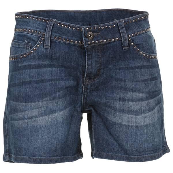 "Women's Dark Wash 5"" Fringed Bottom Stud Shorts"