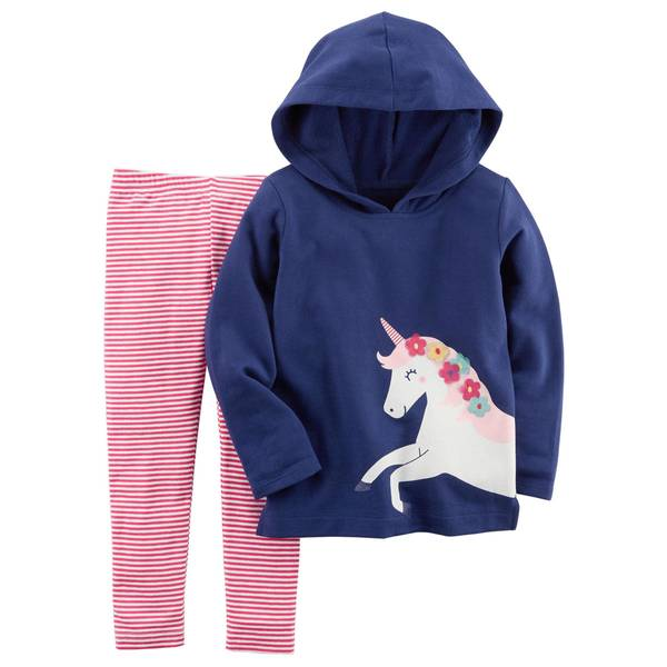 Infant Girl's Multi-Colored 2-Piece French Terry Hoodie & Striped Leggings Set