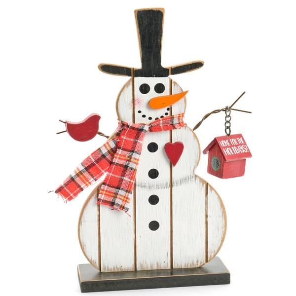 Wood Snowman with BirdHouse