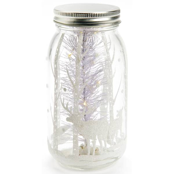 "7"" White Glass Jar"