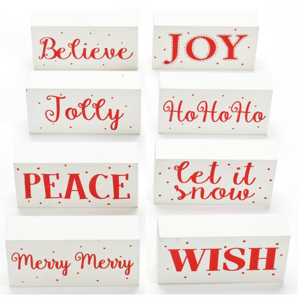 Red and White Word Block Assorted