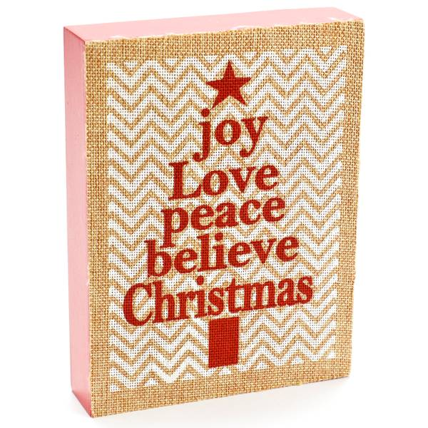 Joy, Love, Peace Wood Block