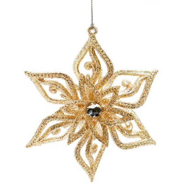 "4.75"" Gold Snowflake Ornament"