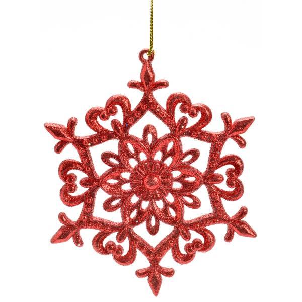 "5"" Red Glitter Snowflake Ornament"