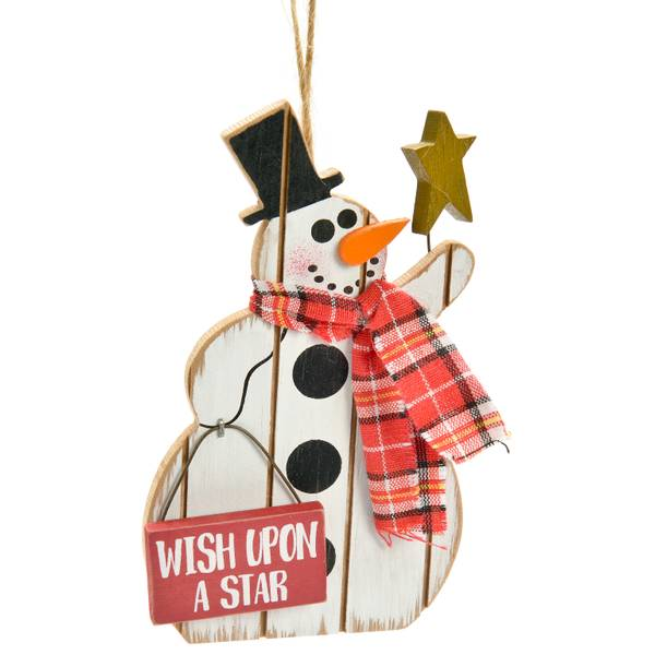 Wood Snowman Wish Upon A Star Ornament