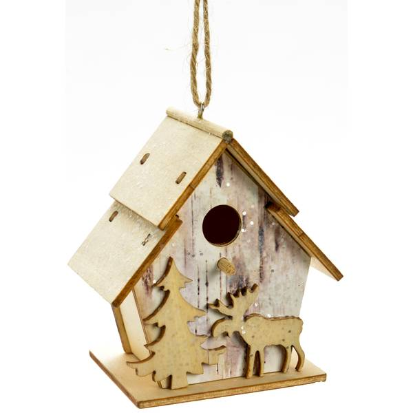 "3.5"" Wood Birdhouse Ornament"