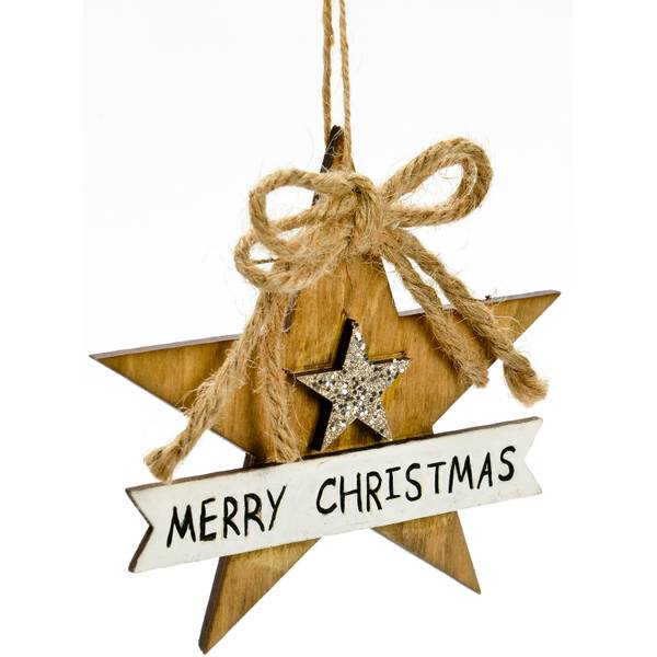 "4.75"" Merry Christmas Star Ornament"