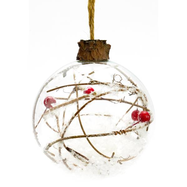 "4.5"" Glass Twig Ball Ornament"