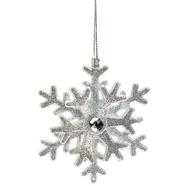"3.25"" Silver Bead Snowflake Ornament"