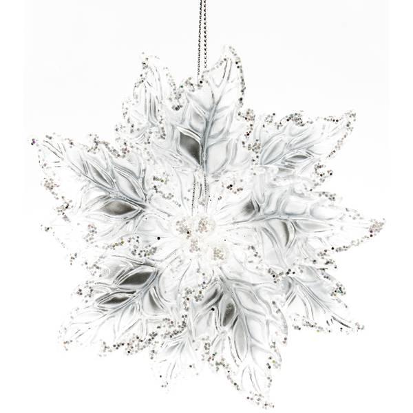 "5.25"" Clear Poinsettia Ornament"