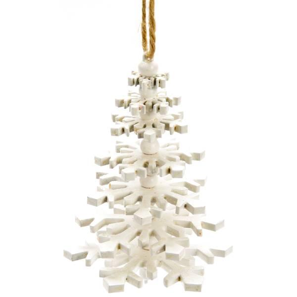 "4.5"" White Wood Tree Ornament"