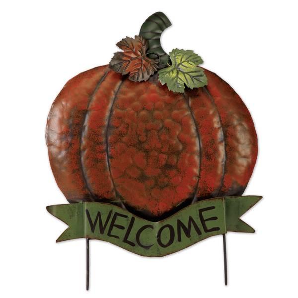 """20.5"""" Pumpkin Sculpture """"Welcome"""""""