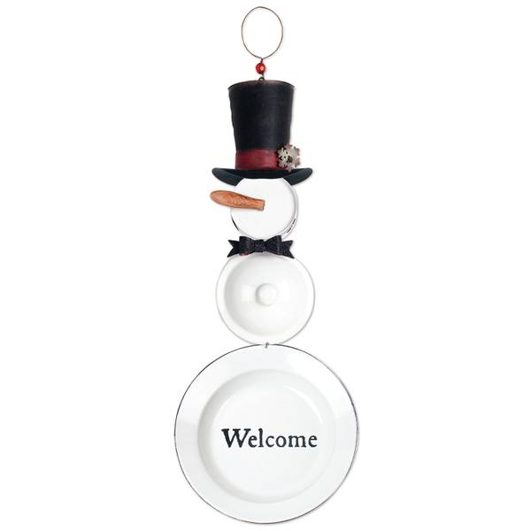"18.9"" Enamel Snowman Welcome Sign"