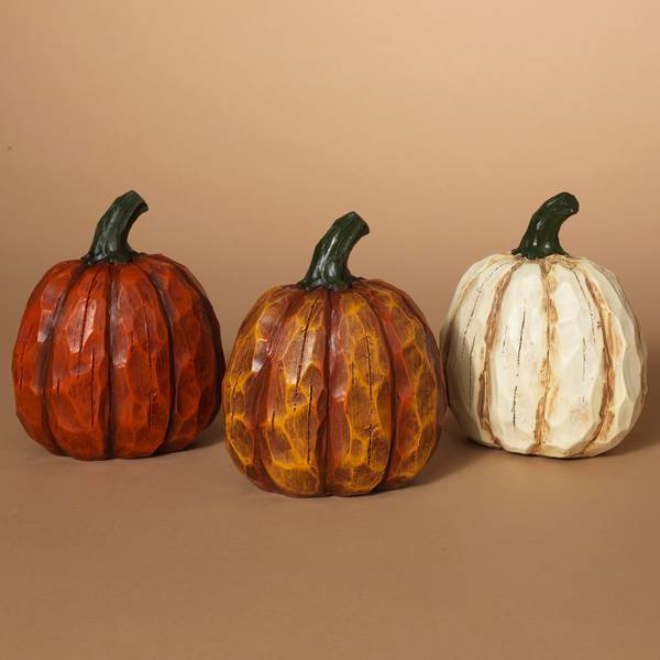 "6.5"" Resin Wood Look Pumpkin Assortment"