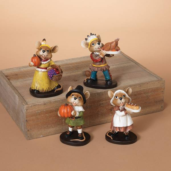 "5.25"" Poly Resin Mouse Figurine Assortment"