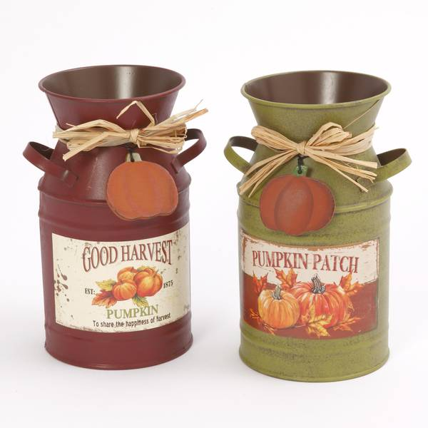 "7.5"" Rustic Metal Harvest Milk Can Luminary Assortment"