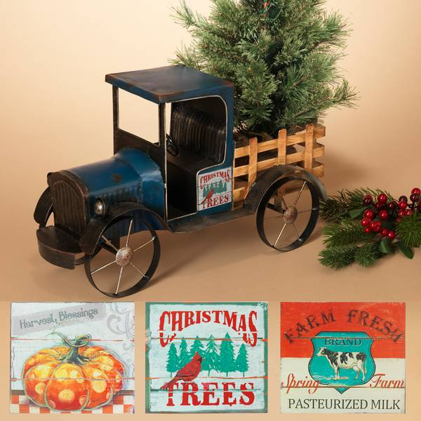 Metal Antique Truck with 3 Seasonal Magnets