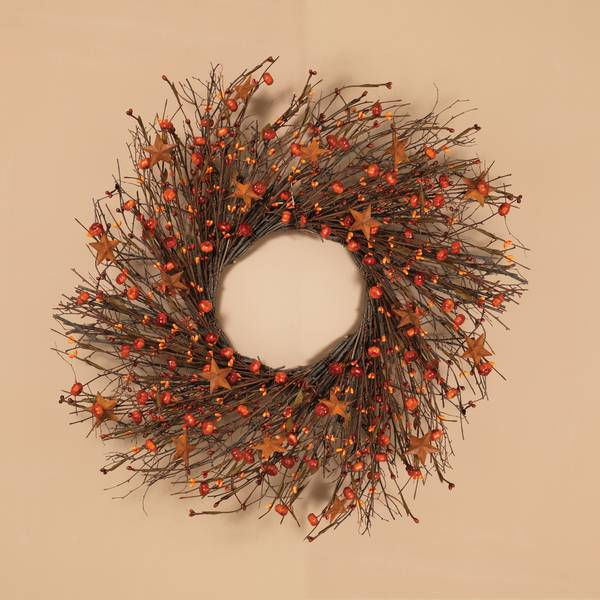 "24"" Twig Wreath with Metal Star & Berries"