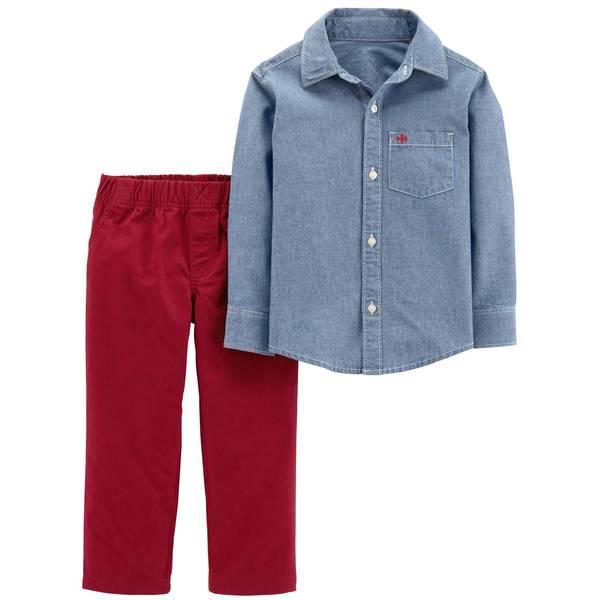 Toddler Boys' Denim & Red 2-Piece Short Sleeve Pants Set