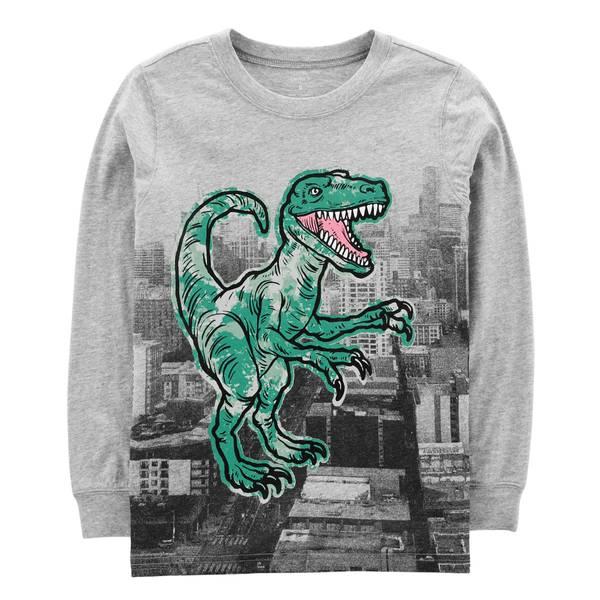 Big Boys' Heather Long Sleeve Dinosaur Building Tee Shirt