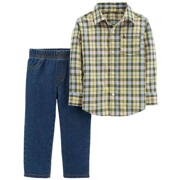 Toddler Boy's Two-Piece Button-Front Shirt and Pants Set