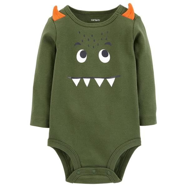 Infant Boys' Olive Green Monster Face Bodysuit