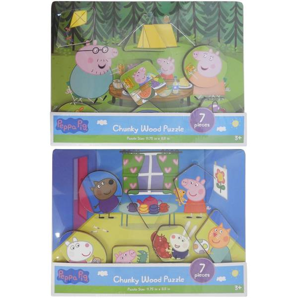 7pc Peppa Pig Chunky Wood Puzzle Assortment