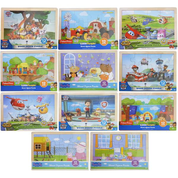 12pc Licensed Wood Jigsaw Puzzle Assortment