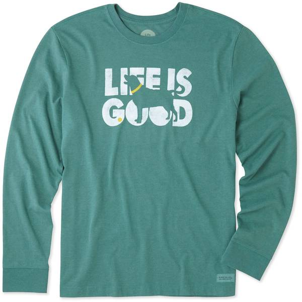 fb84a383e Life Is Good Men's Crusher Long Sleeve T-Shirt Knockout Dog Green