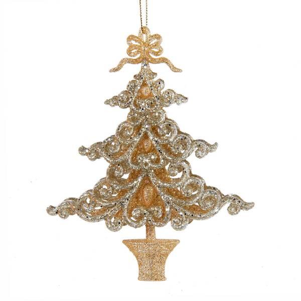 "6"" Acrylic Plat/Champagne Tree Ornament"