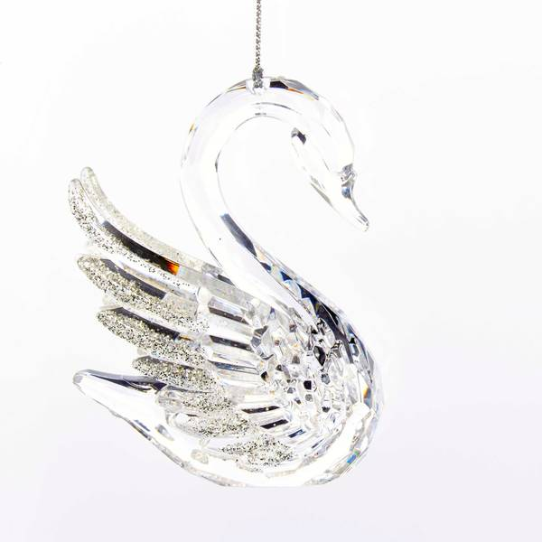 "4"" Acrylic Clear Swan Ornament"