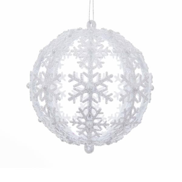 120MM Glitter Snowflake Ball Ornament