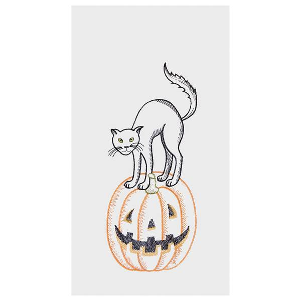 Cat on Pumpkin Flour Sack Towel