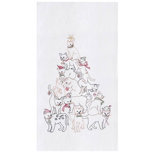 Cat Christmas Tree Flour Sack Towel