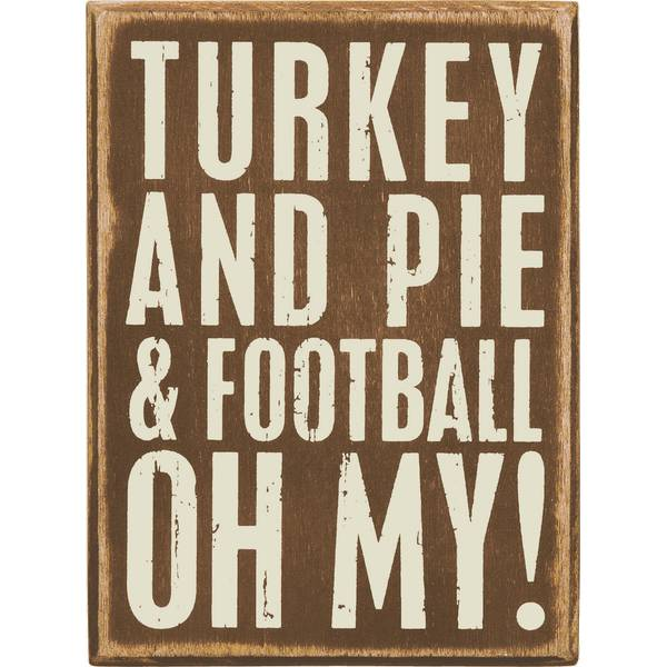 Turkey, Pie, Football Box Sign