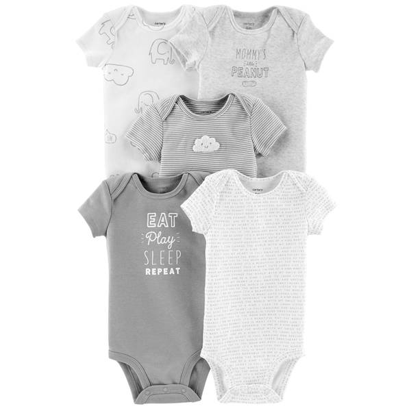 Unisex Assorted Color Short Sleeve Bodysuits 5-Pack
