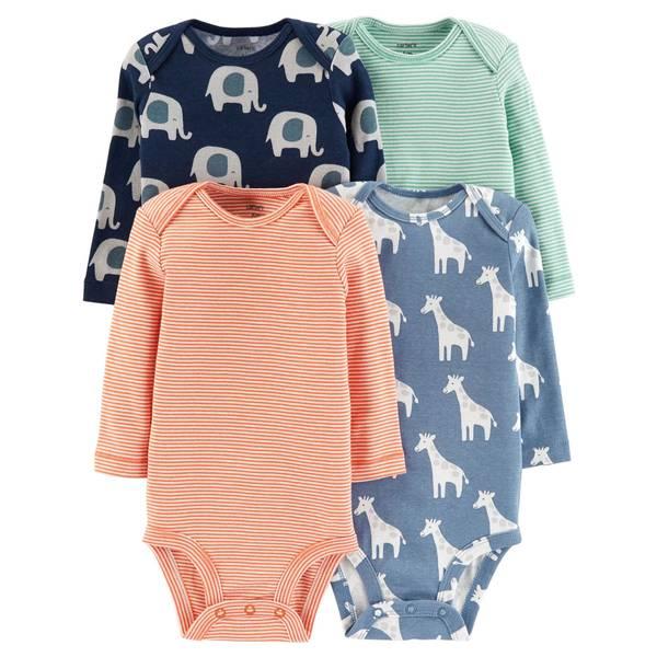 Infant Boys' Assorted Color Long Sleeve Bodysuit 4-Pack