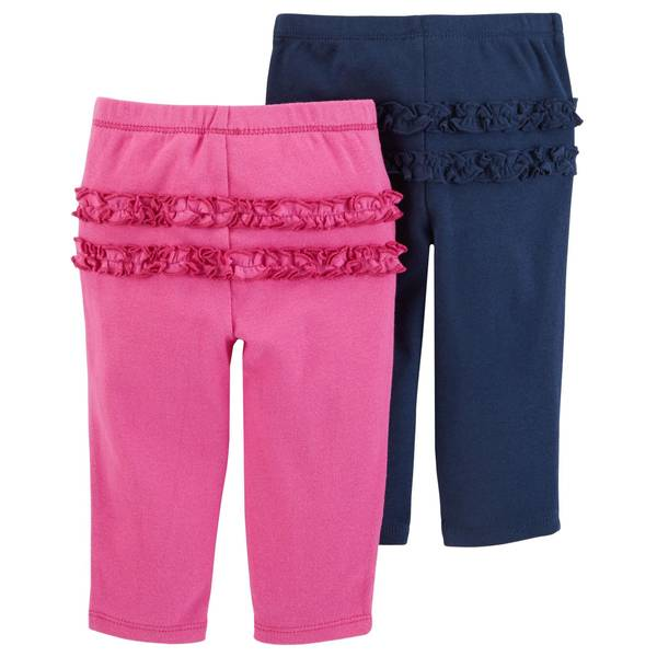 Infant Girls' Navy & Purple Ruffle Pants 2-Pack