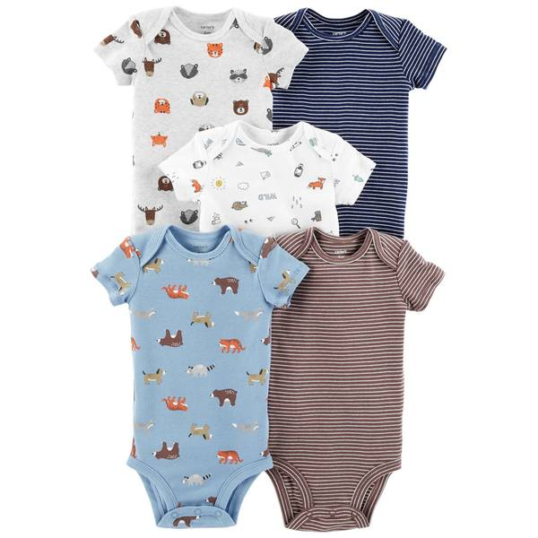 Infant Boys' Assorted Color Short Sleeve Animal Bodysuit 5-Pack