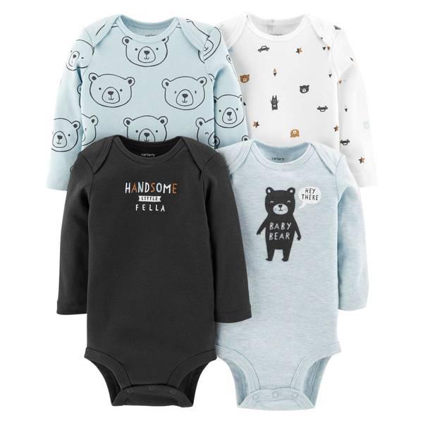 Infant Boys' Assorted Color Long Sleeve Bear Bodysuit 4-Pack