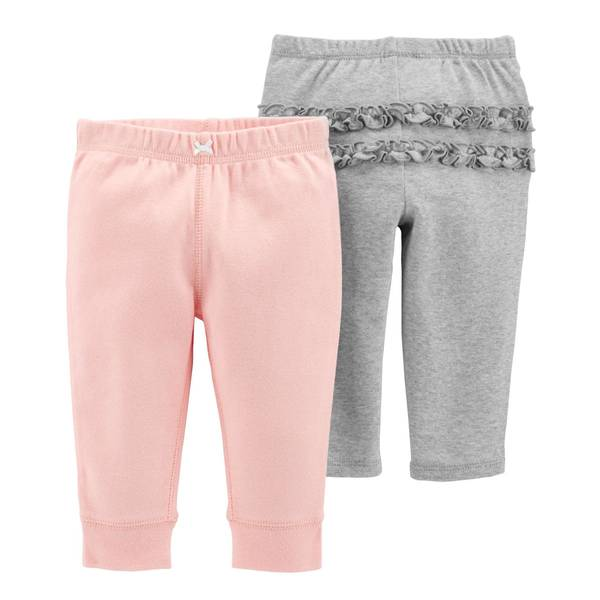 Infant Girls' Heather Grey & Pink Pants 2-Pack