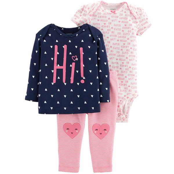 Infant Girls' Pink & Navy Heart LBB 3-Piece TMA Set