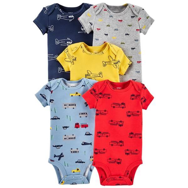 Infant Boys' Assorted Color Short Sleeve Plane Bodysuit 5-Pack