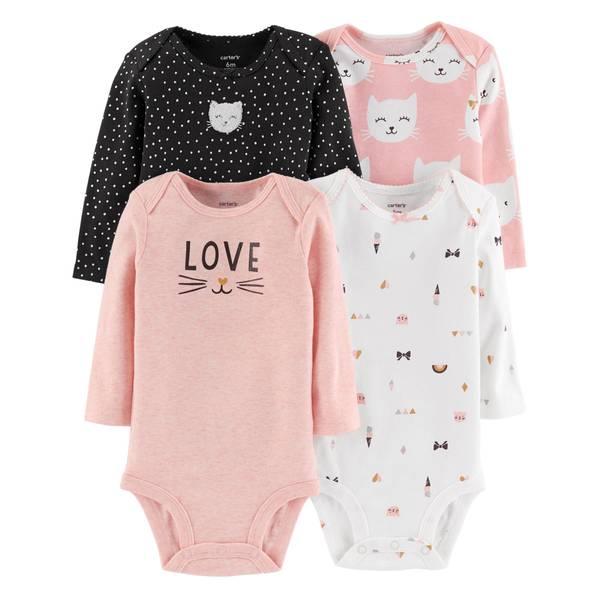 Infant Girls' Assorted Color Long Sleeve Cat Bodysuit 4-Pack