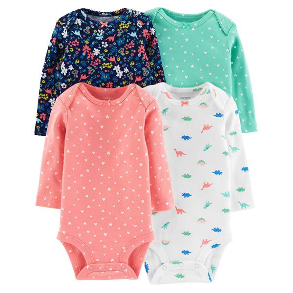 Infant Girls' Assorted Color Long Sleeve Bodysuits 4-Pack