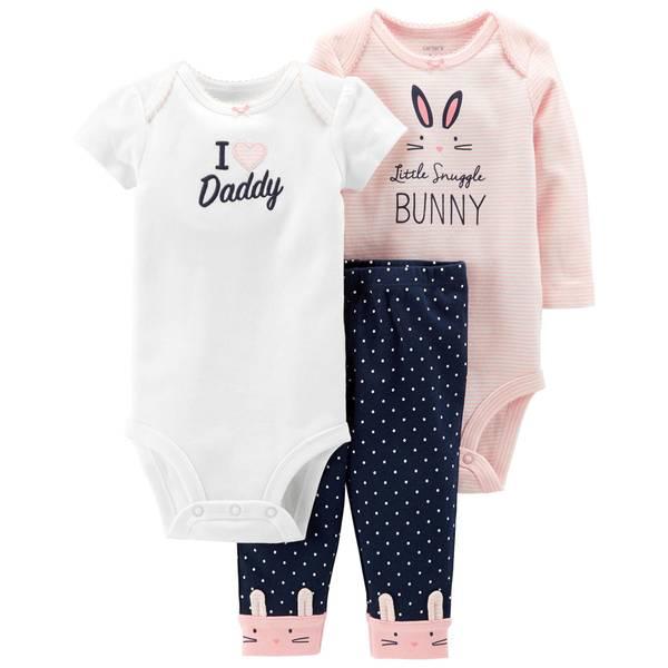 Infant Girls' Pink & Navy LBB 3-Piece Bunny TMA Set