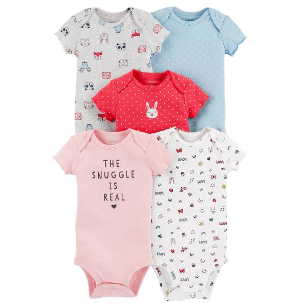 Infant Girls' Assorted Color Short Sleeve Bunny Bodysuit 5-Pack