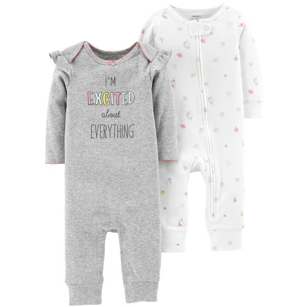 Infant Girls' Ivory & Heather LBB 2-Pack Coverall Set