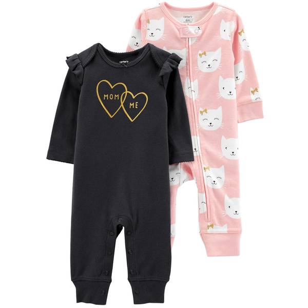 Infant Girls' Black & Pink LBB 2-Pack Coverall Set