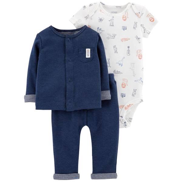Infant Boys' Heather & Navy LBB 3-Piece Set